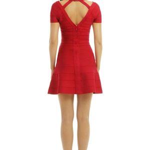Red Herve Leger Cutout A-line Bandage Dress.